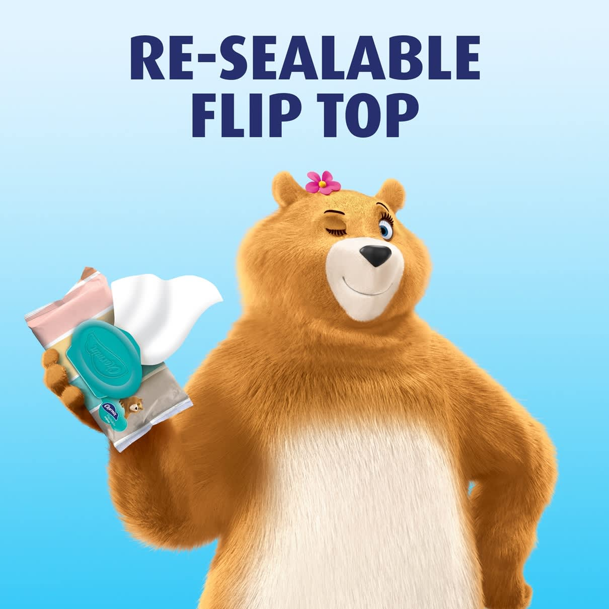 Resealable flip top flushable wet wipes
