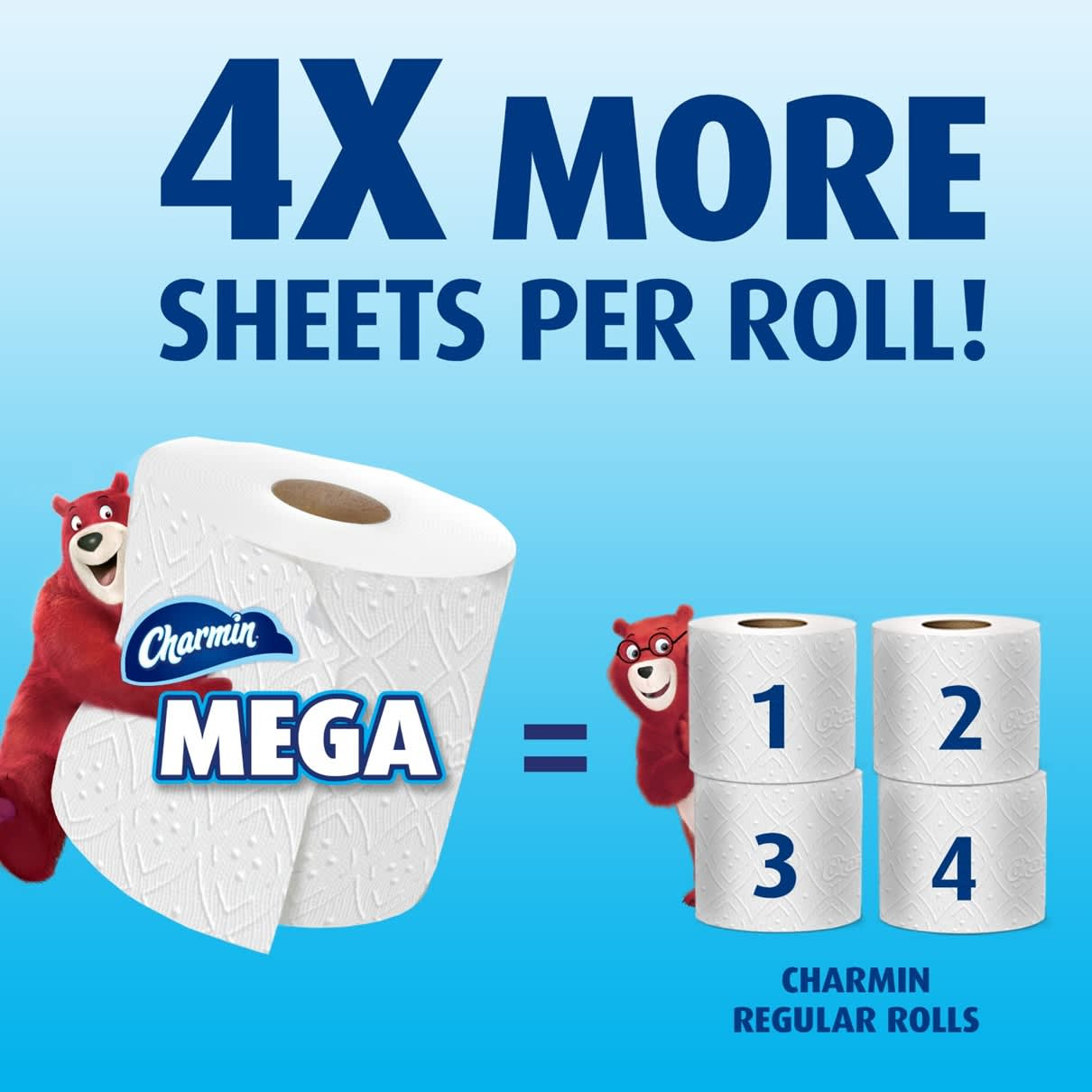 Get 4X more sheets per roll with ultra strong mega roll