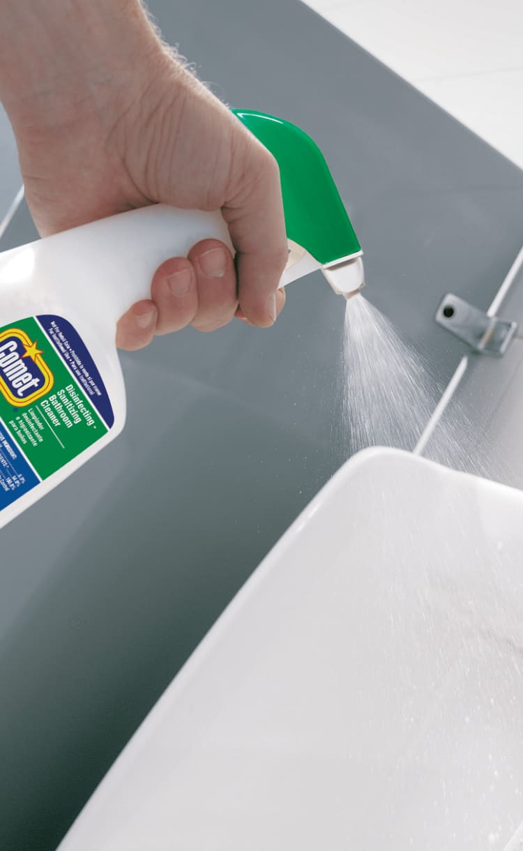 Go one step greater than clean with Comet Disinfecting Bathroom Cleaner
