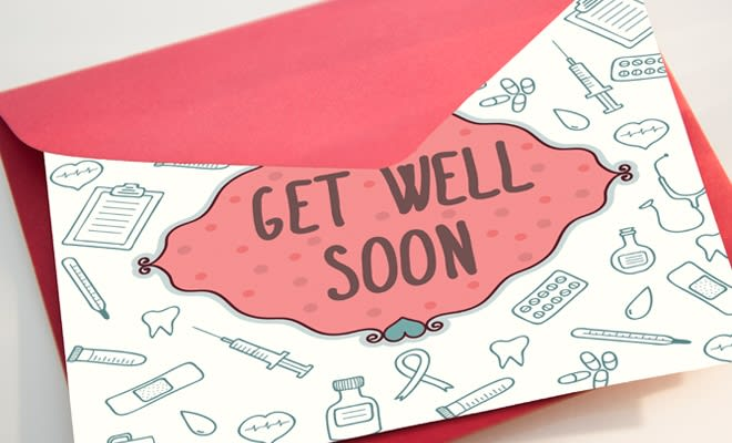Get well soon card for a care package