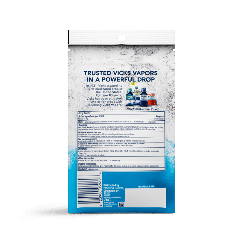 VapoCOOL HydraSoothe Medicated Drops Drug Facts