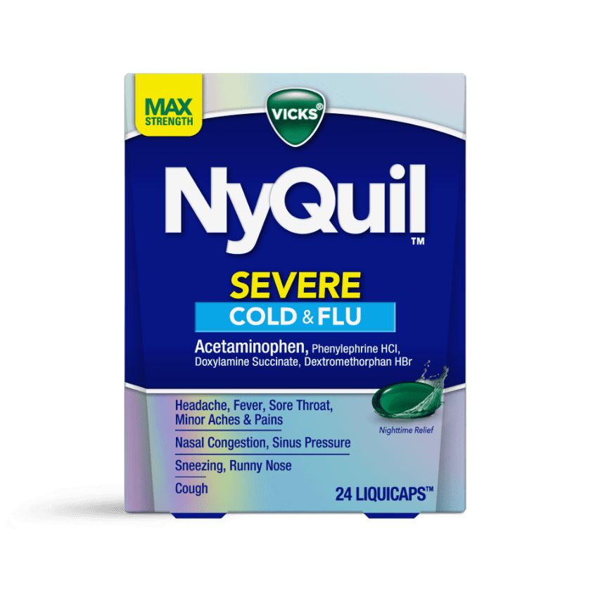 NyQuil Severe Cold & Flu Nighttime Relief LiquiCaps