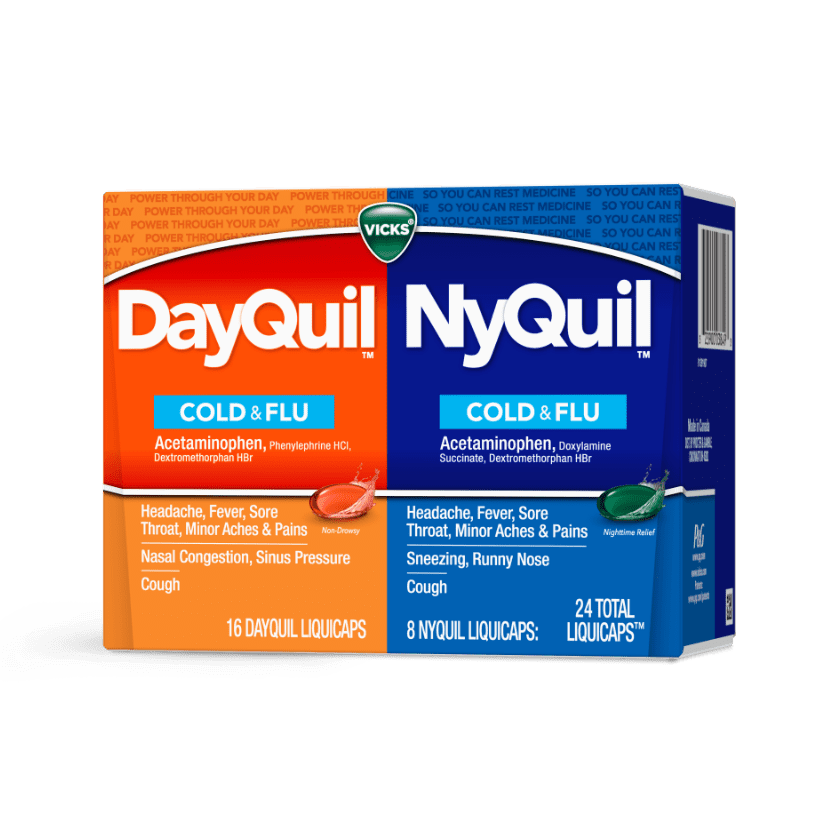 DayQuil and NyQuil Cough, Fever, Sore Throat Relief Liquicaps