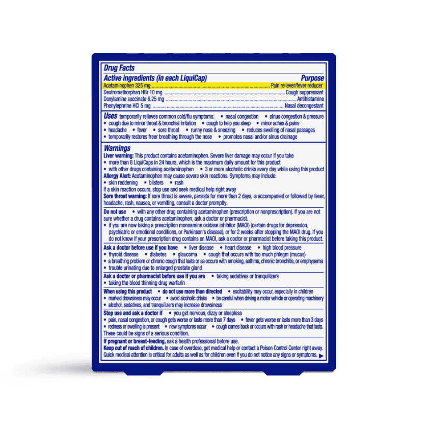 NyQuil Severe Cold & Flu Nighttime Relief LiquiCaps Drug Facts