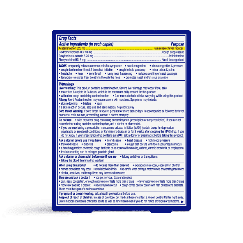 NyQuil Severe VapoCOOL Caplets Drug Facts