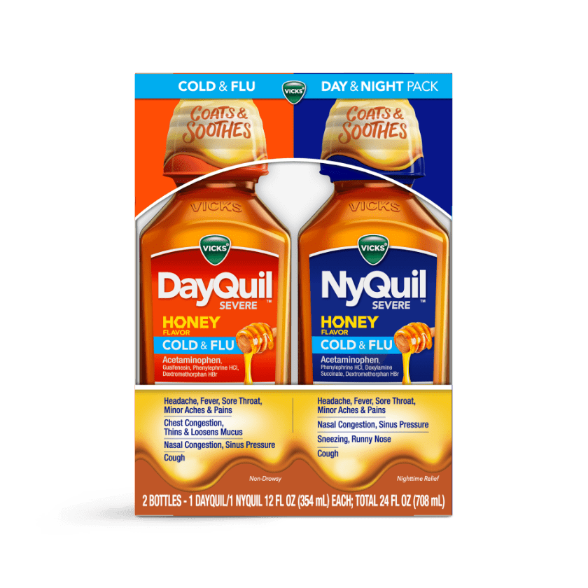 DayQuil and NyQuil Severe Honey Cold and Flu Relief Liquid