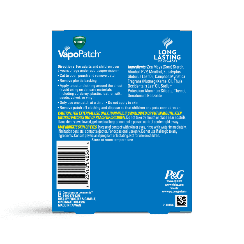 Vicks VapoPatch Usage Instructions