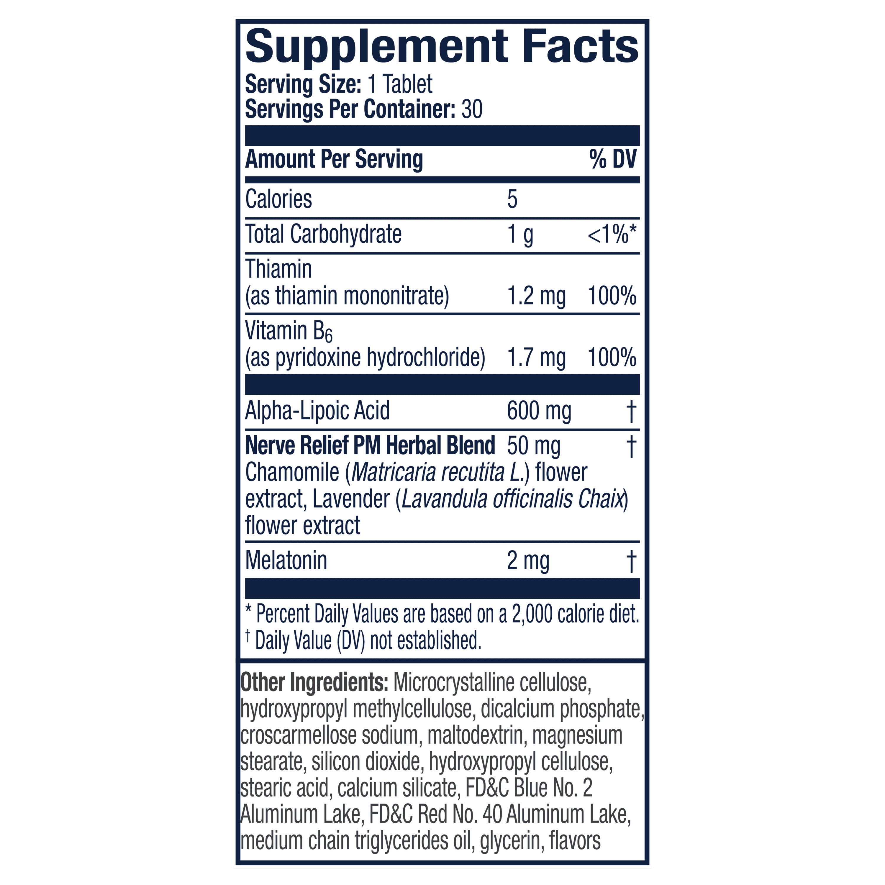 Nervive Nerve Relief PM Supplement Facts