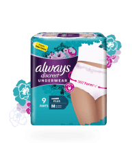 Always Discreet incontinence underwear with a three hundred and sixty degree form fit in medium plus size