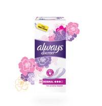 A packet of Always Discreet incontinence liners in size normal