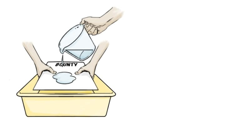 Pour a cup of water on bounty sheet