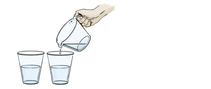 Fill two of the cups with 1 cup of water each.