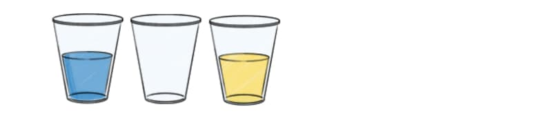 Arrange the cups with the empty cup  in the middle.