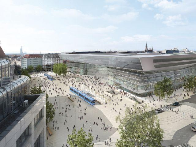 Visualisierung des neuen Hauptbahnhofs München