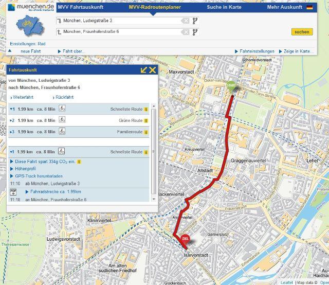 Screenshot des MVV-Routenplaners