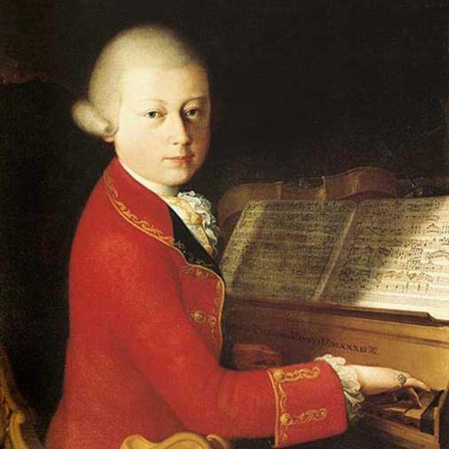 Wolfgang Amadeus Mozart auf einem Portrait.