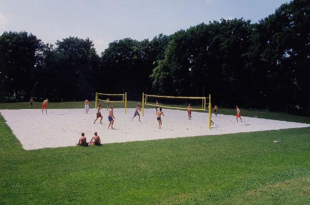 Beach volleyball court at the Freibad West (Westbad).