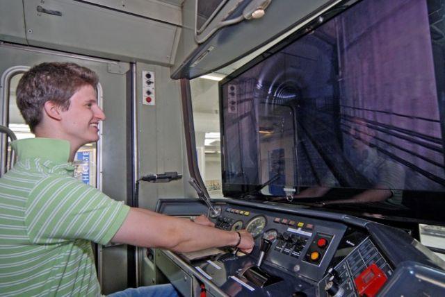 Der U-Bahnsimulator im MVG-Museum.