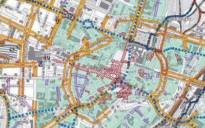 Fahrradrouten in München.
