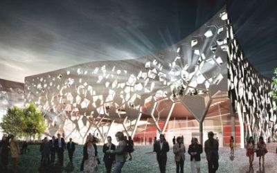 Neues Odeon nach der Master-Thesis von Markus Krempels aus der Ferne bei Nacht
