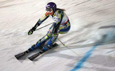 Skifahrerin beim Parallelslalom am Olympiaberg