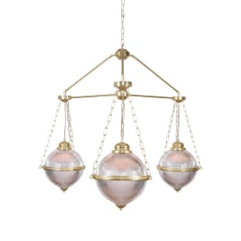 Blaenau Holophane Glass Polished Brass Chandelier, Three-Arm