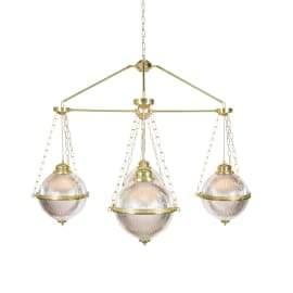 Blaenau Holophane Glass Polished Brass Chandelier, Four-Arm
