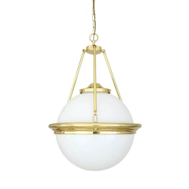 Ardee Traditional Brass Opal Globe Chandelier