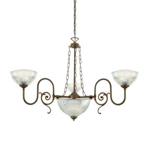 Padang Traditional Brass Chandelier, Three-Arm