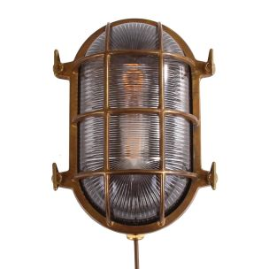 Ross Marine Nautical Bulkhead Wall Light IP54, Antique Brass