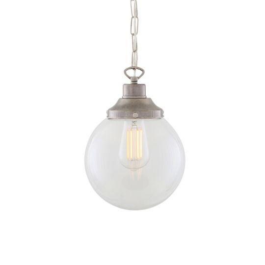 Riad Small Clear Glass Globe Pendant Light 20cm, Antique Silver