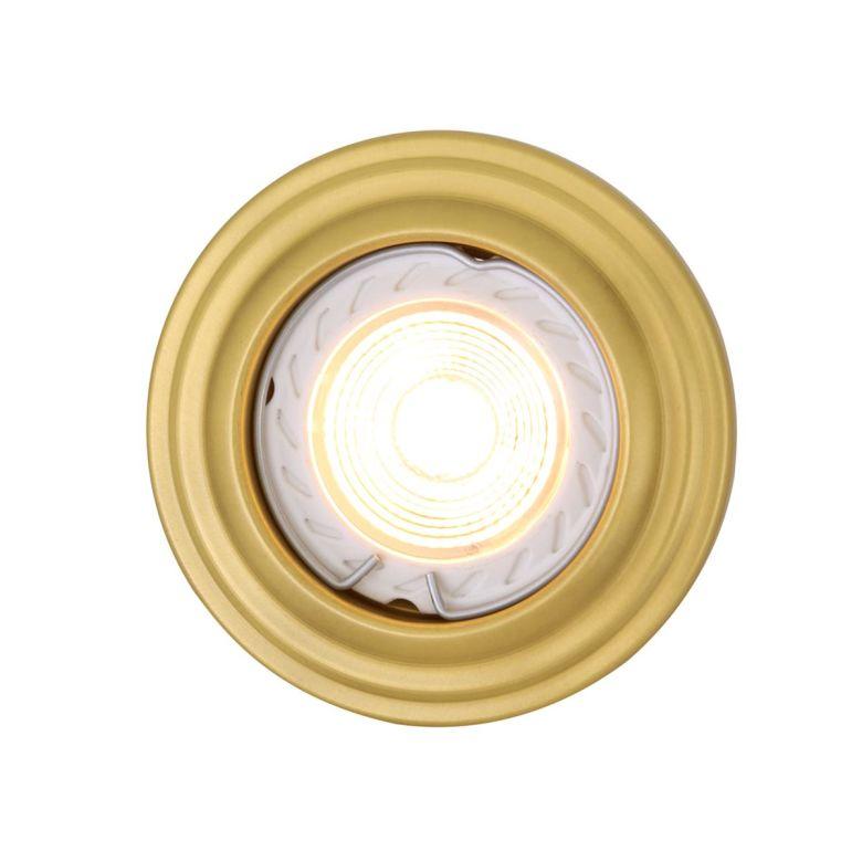 Lefkosia Circular Brass Recessed Spotlight 8cm, Satin Brass
