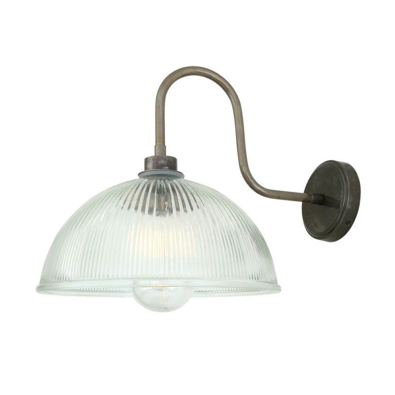 Maris Prismatic Glass Swan Neck Wall Light IP65