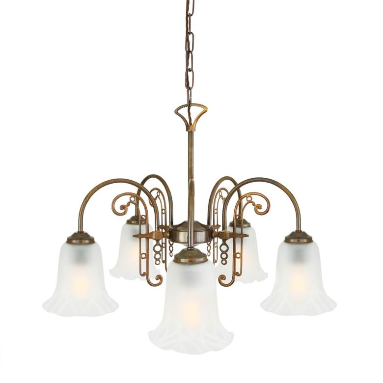 Medan Traditional Brass/Glass Five-Arm Chandelier