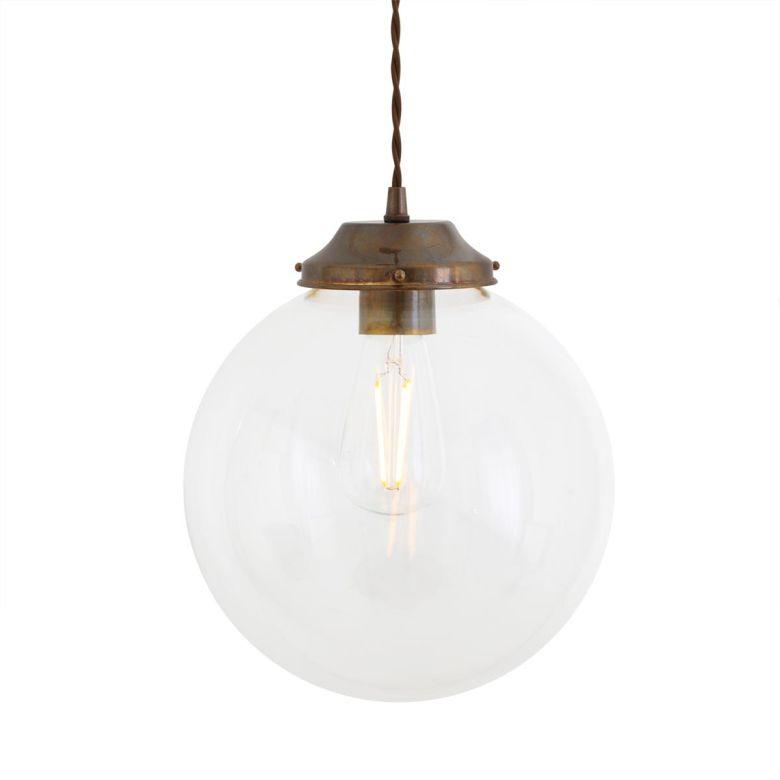 Virginia Clear Glass Globe Pendant Light 25cm, Antique Brass