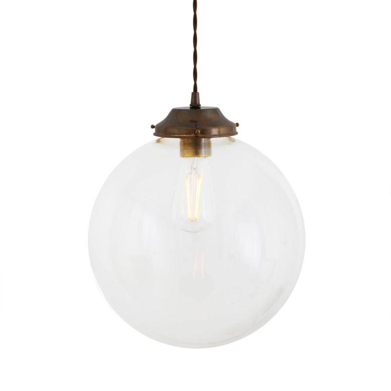 Virginia clear globe pendant light 30cm