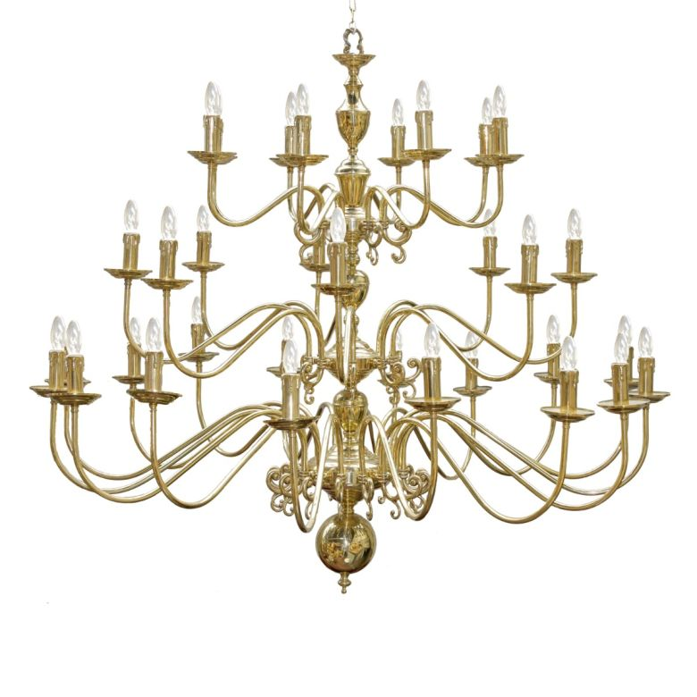 Flemish Candle-Style Brass Three-Tier Chandelier, 32-Light