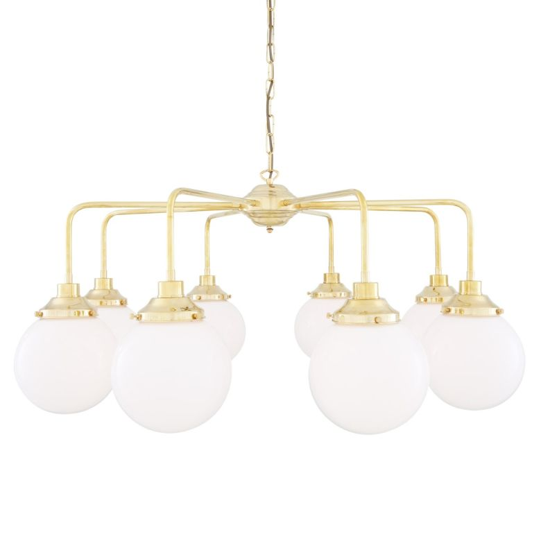 Rome Mid-Century Single Tier Brass Chandelier with Opal Globe Shades, Eight-Light