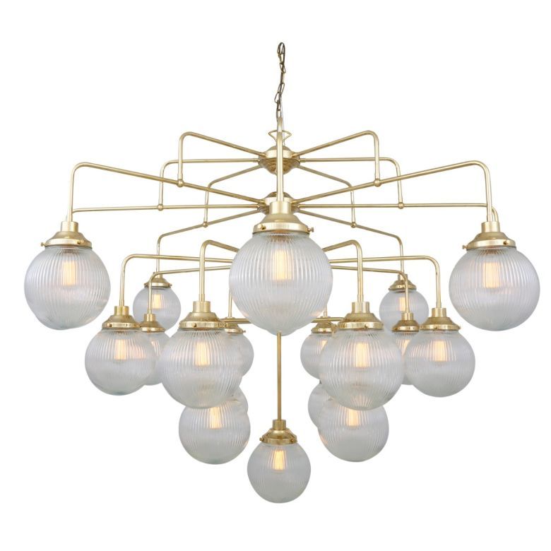 Rome Mid-Century Four-Tier Holophane Glass Globe Chandelier, 21-Light