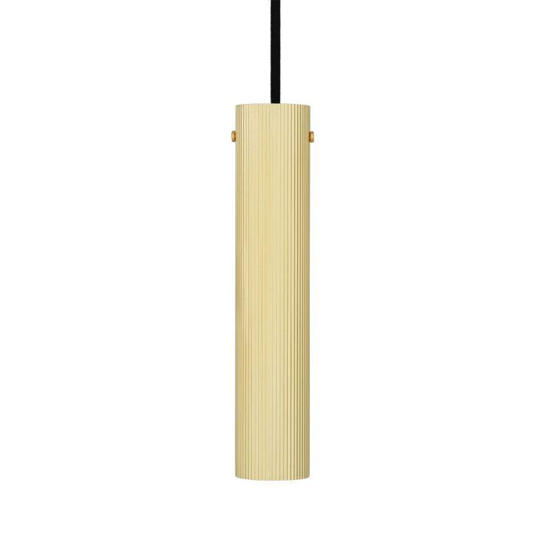 Royce Slender Reeded Brass Pendant Light