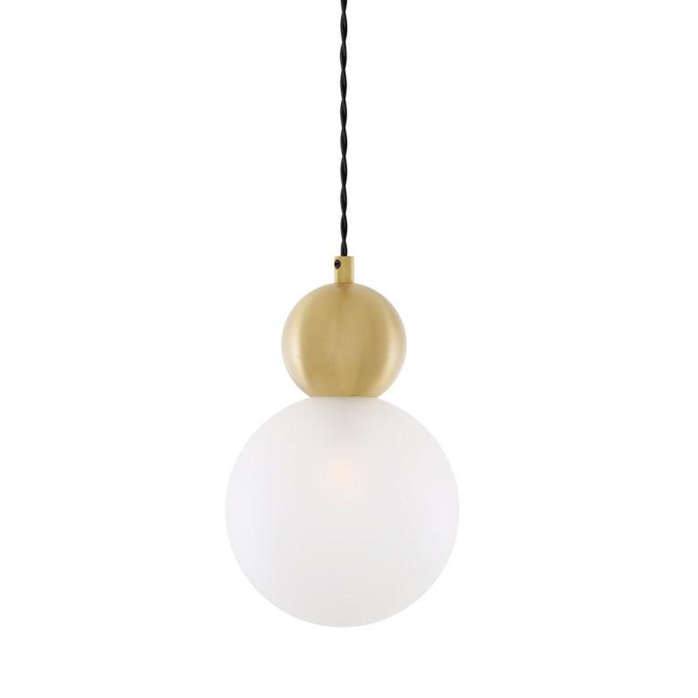 Helena Brass and Glass Ball Pendant Light 15cm, Satin Brass, Opal Glass
