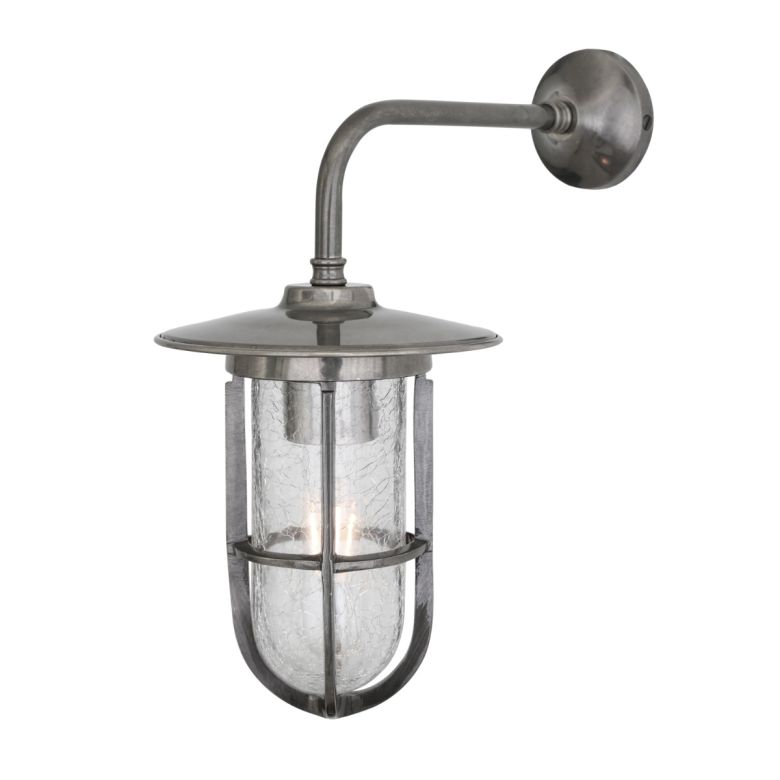 Lena Wall Light IP65 Antique Silver Crackled Glass