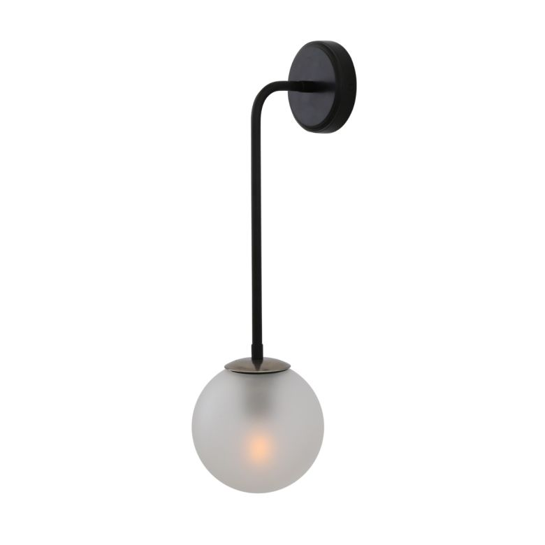 Newport Glass Globe Wall Light, Antique Silver with Frosted Glass