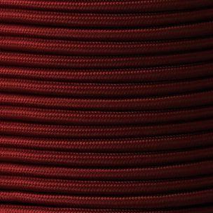 Câble bordeaux flexible rond et tressé à 2 brins