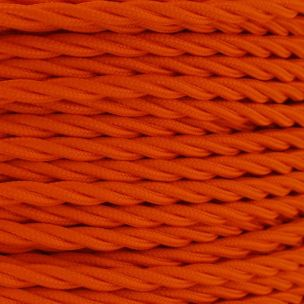 Orange Fabric Braided Cable, 2 Core Twisted