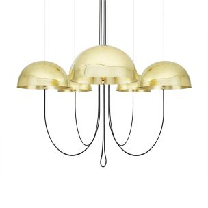 Alegre Modern Brass Dome Chandelier, Five Light