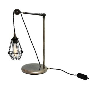 Apoch Industrial Cage Pulley Table Lamp, Antique Silver and Black Cage