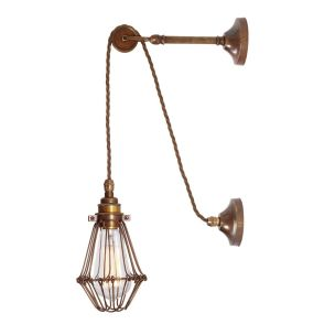 Apoch Vintage Pulley Cage Wall Light, Antique Brass and Bronze Cage