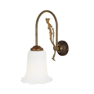 Arklow Swan Neck Wall Light with Bell Glass Shade, Antique Brass