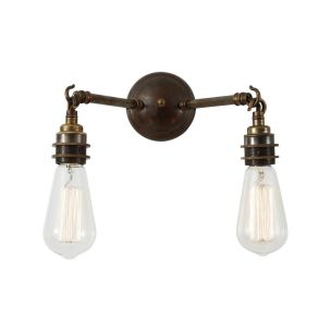 Arrigo Double Bare Bulb Vintage Wall Light, Antique Brass